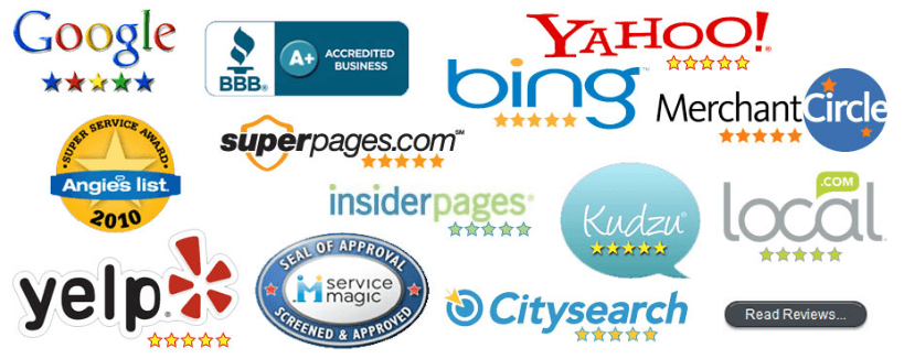 A picture of yahoo, bing, google and other search engine 5 star reviews