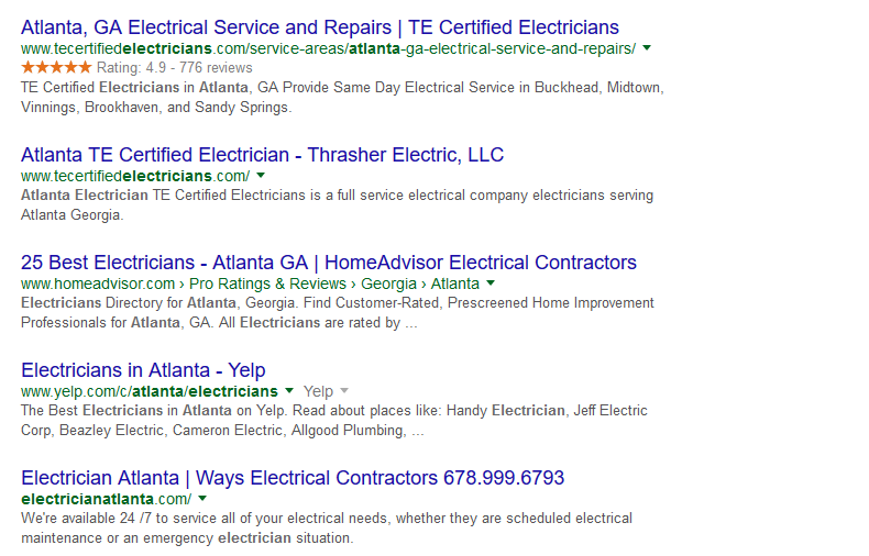 A picture of the SERP results for atlanta electrician