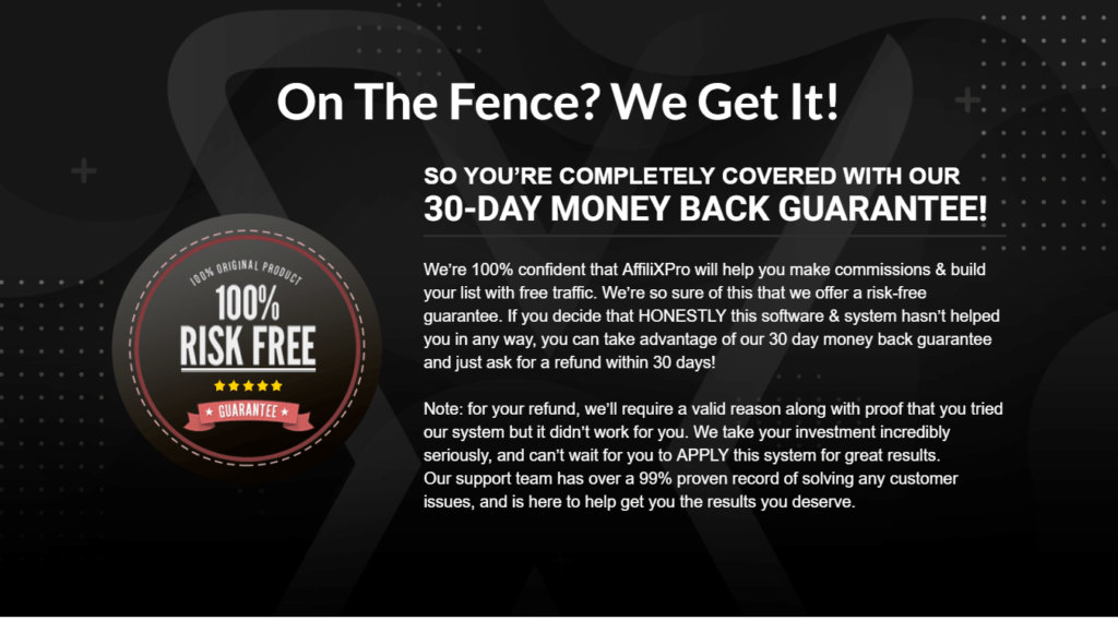 Money Back Guarantee for AffiliXPro