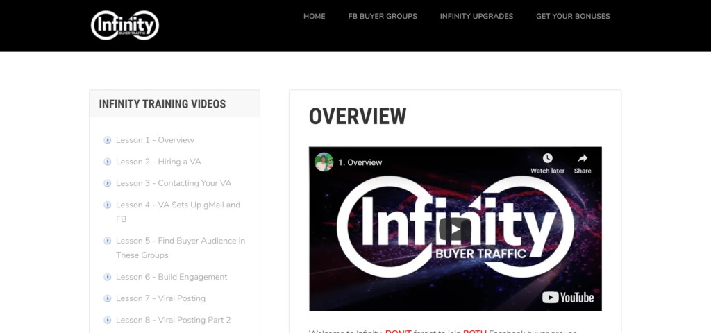 Infinity Buyer Traffic Review