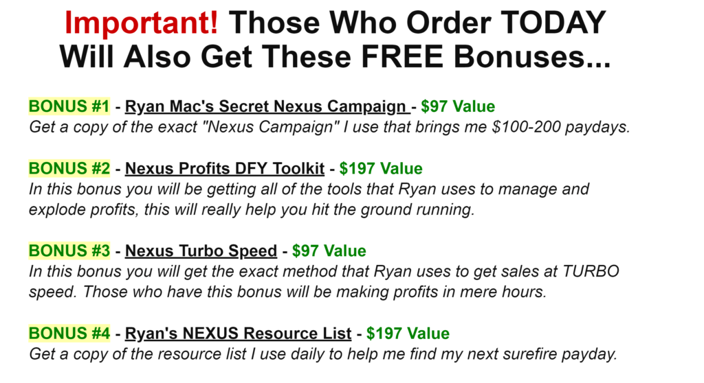 review of Nexus Profits bonuses
