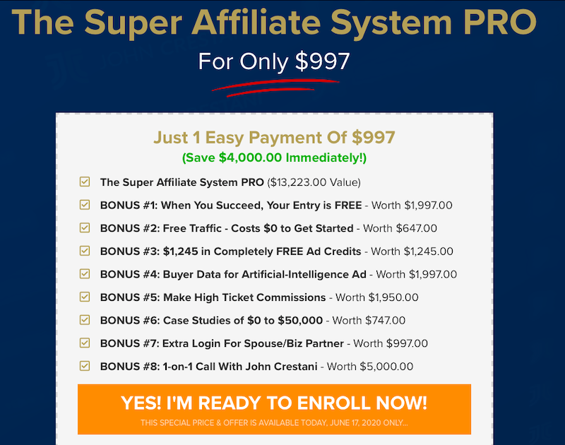 Super Affiliate System Pricing Review